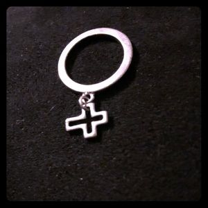 Silver Cross Charm Ring